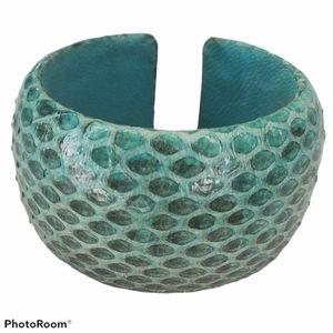 Francesca's blue cuff bracelet snakeskin